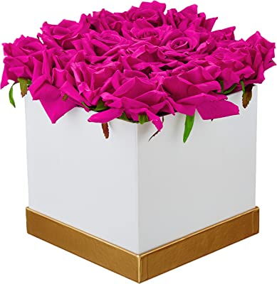 Fourwalls Artificial Rose Flowers in a Box for Valentines Day Gift (25 Flower in Box, 20 cm Tall, White and Dark/Pink)