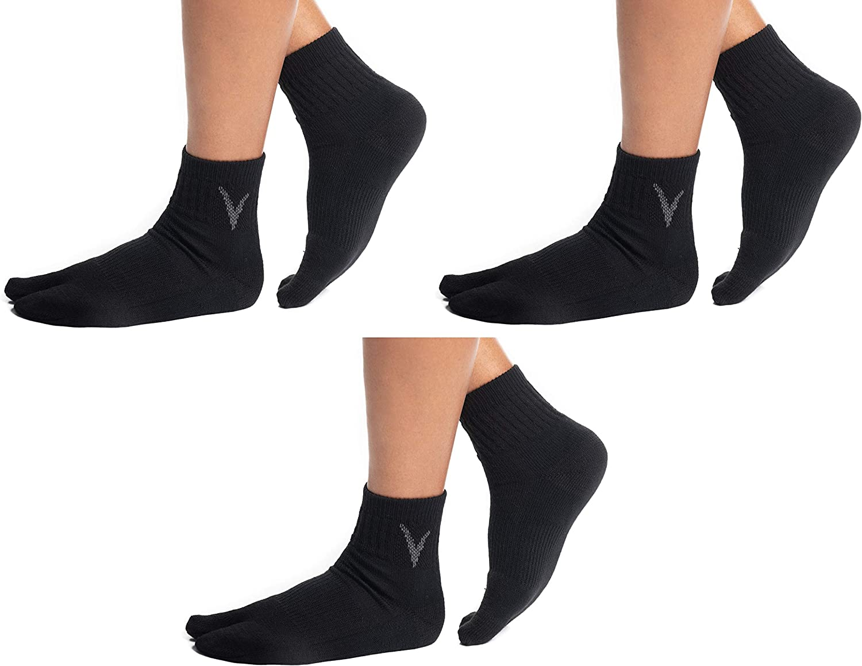 3 Pairs V-Toe Wool Warm Flip-Flop Big Toe Tabi Indoor Outdoor Stylish Hiking Or Casual Men, Womens Socks