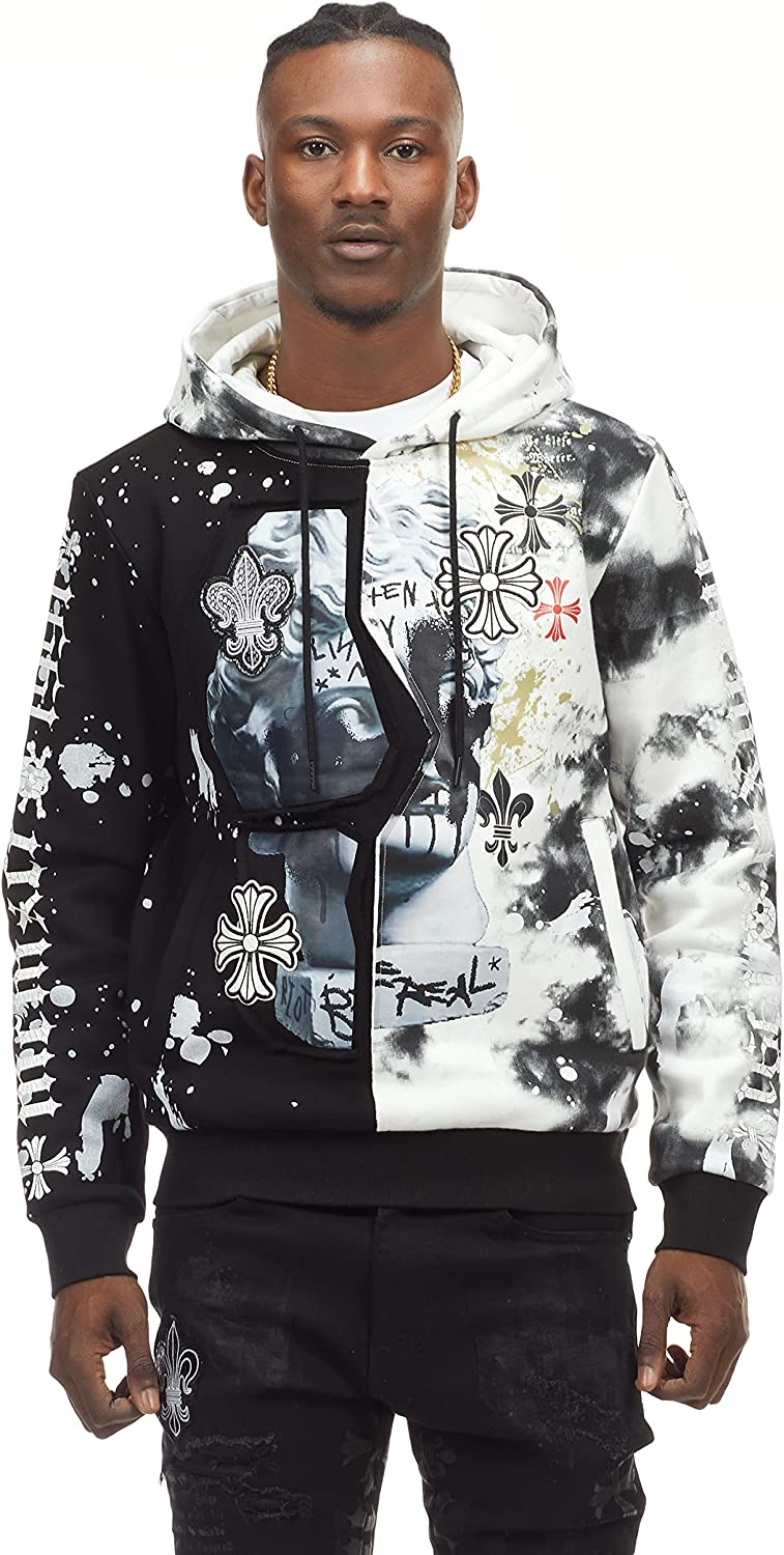 Smoke Rise Men's Fashion Utility Graphic Graffiti Hoody And Joggers with Print and Applique Detail