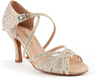 Starry Professional Ballroom Latin Salsa Social Wedding Dance Shoes,Double-Layer Heel Tip,8.5cm/3.3