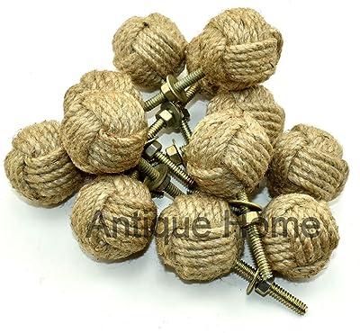 RII 32MM Dias Set of 6 Jute Rope Cabinet knobs Nautical Decor