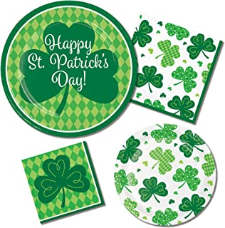 St. Patricks Day Party Supply Pack | Paper Plates and Napkins for 8 People | Harlequin Shamrocks Design