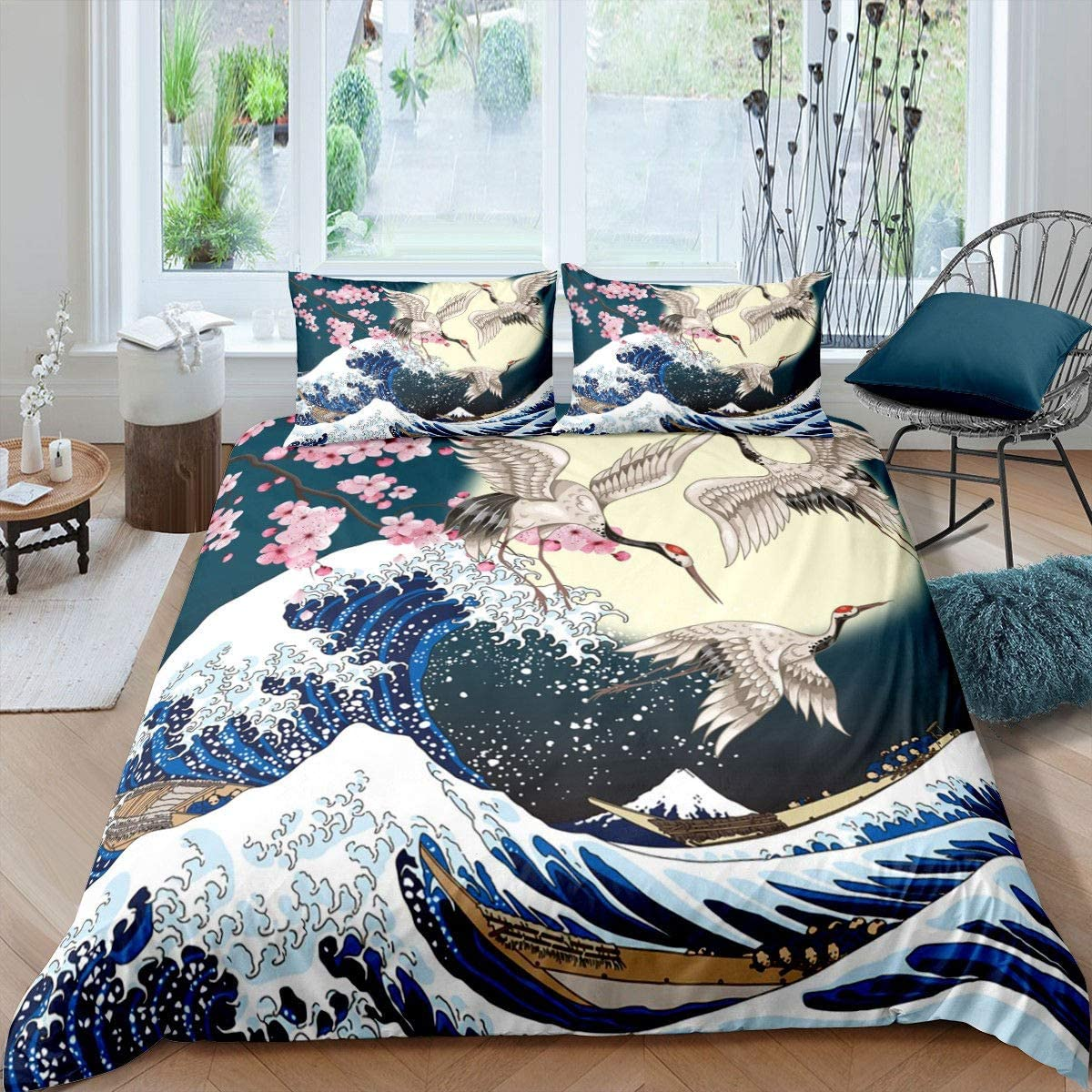 Rapid rise Japanese Style Comforter Cover Set Size King Max 85% OFF Cherry Blossoms Cra
