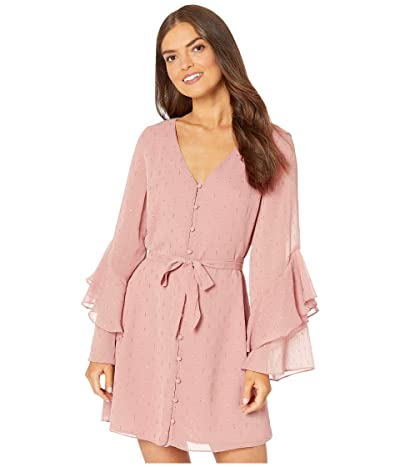 Cupcakes and Cashmere Keegan Metallic Dot Chiffon Dress w/ Ruffle Sleeves (Earthen Mauve) Women