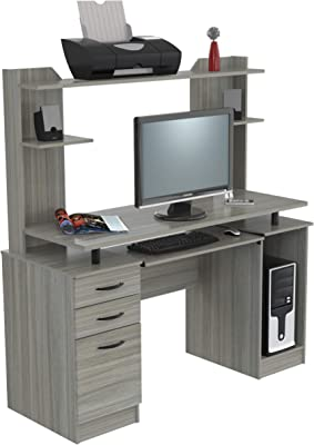 Inval Computer Work Center with Hutch, Smoke Oak