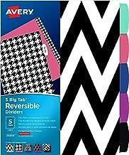 Avery 5 Tab Reversible Fashion Binder Dividers, Assorted Designs, Big Tabs, 1 Set (24914)