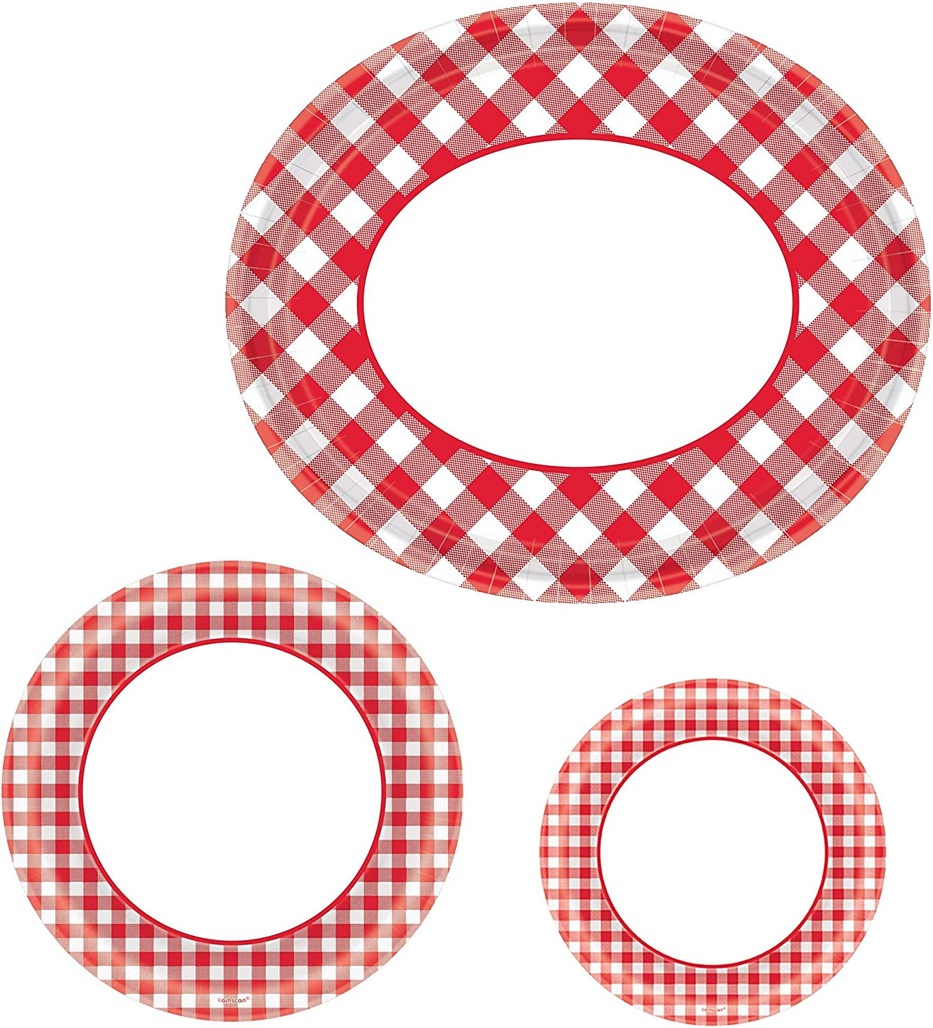 Party New popularity City Picnic Red Omaha Mall Gingham Buffet Supplies Plate 12 for
