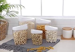 5 Pièces Transparent Boîte Alimentaire Hermétique de Rangement Conservation à Céréales Fruits Secs 1440 ml, 960 ml, 720 ml...