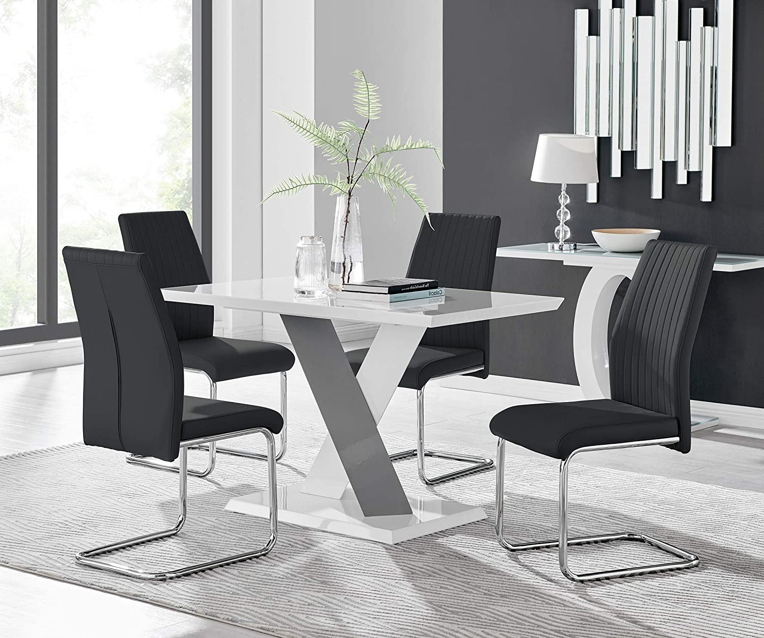 Furniturebox UK Monza 9 Seat White and Grey High Gloss Rectangular Dining  Table Modern Contemporary Table Design with 9 Black Lorenzo Faux Leather ...