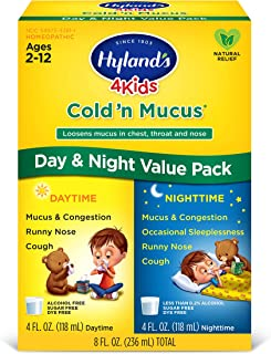 Kids Cold Medicine and Mucus Relief for Ages 2+, Hylands 4 Kids Cold 'n Mucus, Day and Night Value Pack, Syrup Cough Medic...