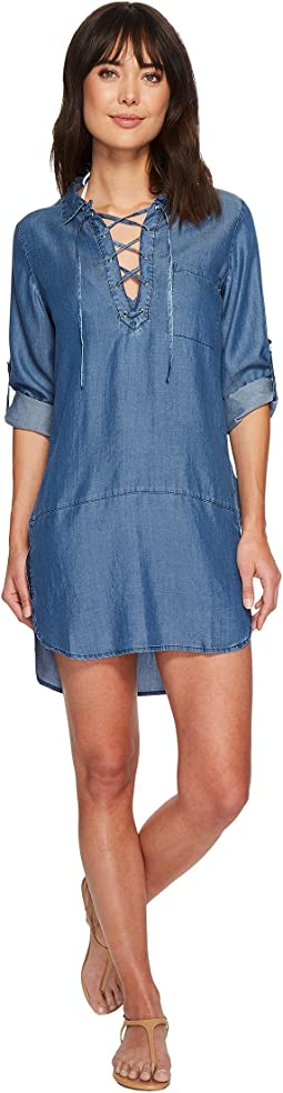 Chambray Lace-Up Boyfriend Shirt Cover-Up