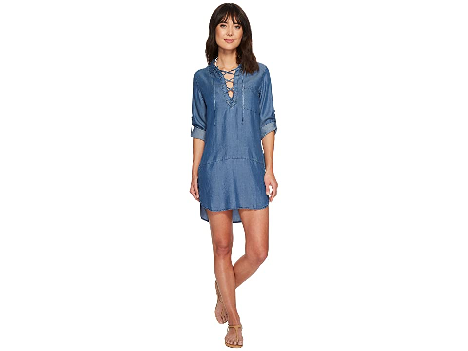 Tommy Bahama Chambray Lace-Up Boyfriend Shirt Cover-Up (Chambray) Women