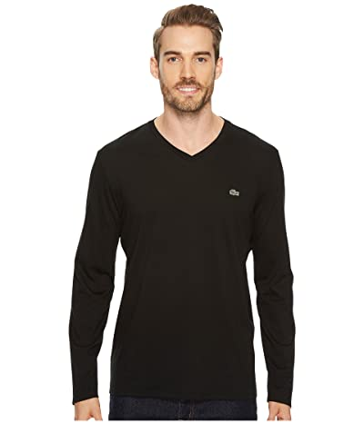 Lacoste Long Sleeve Pima Jersey V-Neck T-Shirt (Black) Men