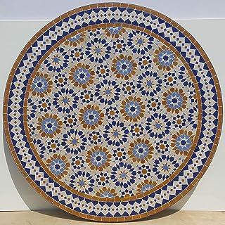 Casa Moro Marokkanischer Mosaiktisch Ankabut Braun Ø 100cm rund mit Gestell H 73 cm Kunsthandwerk aus Marrakesch | Mediterraner Gartentisch Esstisch Balkontisch Bistrotisch MT2224