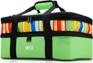 MIER Portable Expandable Travel Cooler Tote Bag Large Insulated Double Decker Picnic Food Carrier