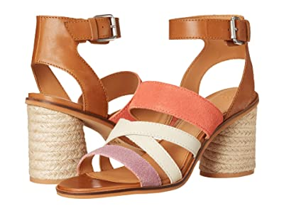 FRYE AND CO. Leiah Mixed Strap Sandal (Peach Multi Suede/Waxed Leather) Women