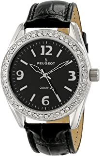 Women's Boyfriend Large Face Case Dress Wrist Watch with Swarovski Crystal Bezel & Thick Leather Strap Band