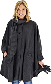 Le Moda Women's Wrap with Integrated Pleated Scarf | Autumn Collection | One Size Fits All