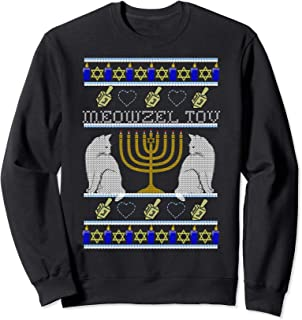 MEOWZEL TOV Cat Sweatshirt Ugly Hanukkah Sweater Meme Cats
