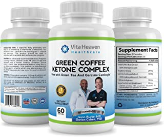 Vita Heaven Weight Loss and Fat Burning Supplement with Garcinia Cambogia, Green Coffee Bean, Raspberry Ketones and Green Tea Extract, 60 Count