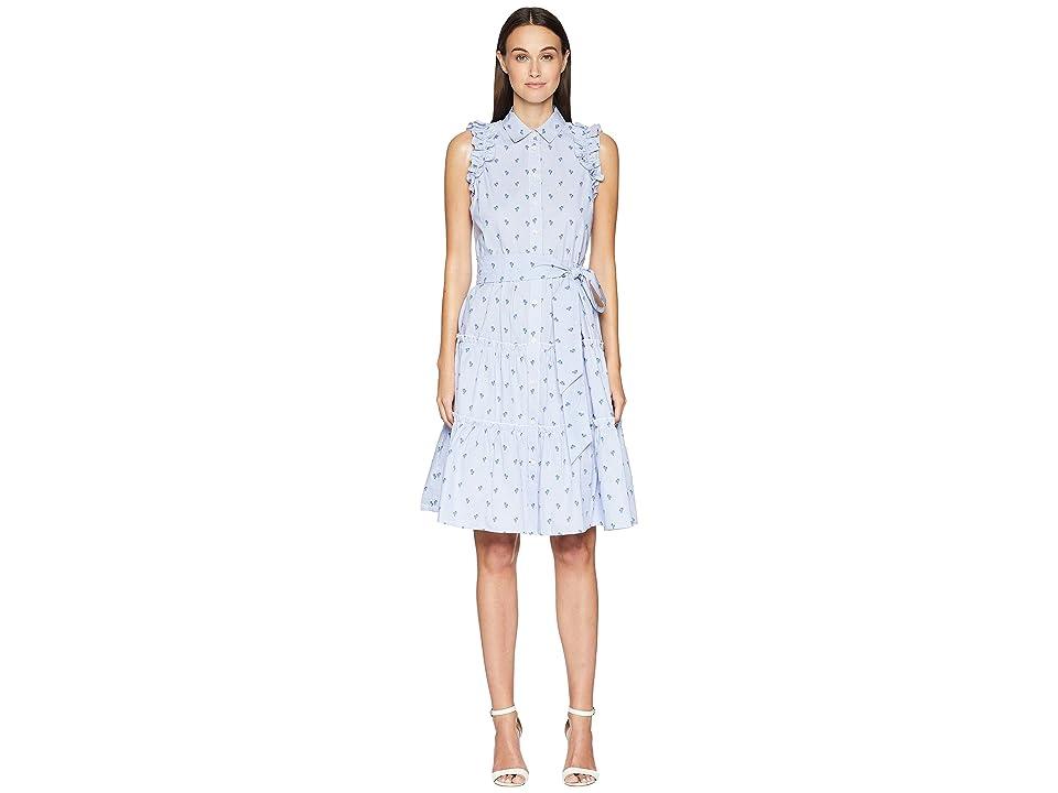 Kate Spade New York Sleeveless Palm Tree Dress (Seaport Blue/Fresh White) Women