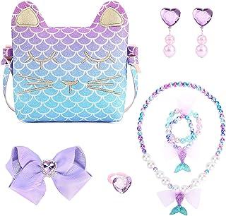 Mibasies اولین کیف دستی من دختران کوچک پیراستن جواهرات وانمود می کنند کیف پول گربه پری دریایی کودکان و نوجوانان را بازی کنید
