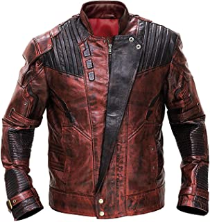 NMFashions Star Guardians Superhero Lord Quill Distressed Biker Leather Jacket Galaxy Jacket OR Full Costume OR Pant