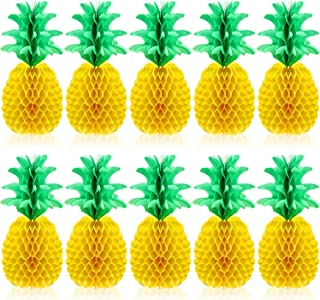 Blulu 10 Packs 14 Inch Pineapple Honeycomb Centerpieces Tissue Paper Pineapple Table Hanging Decoration for Hawaiian Luau ...