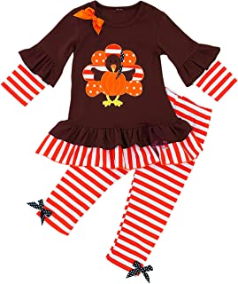 AMK Baby Toddler Little Girls Happy Thanksgiving Turkey Outfit Sets