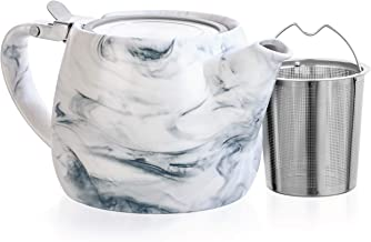 Tealyra - Marble Porcelain Teapot Grey - 22-Ounce (2-3 Cups) - Unique Design - Extra-Fine Infuser and Stainless Steel Lid - Infuse Loose Leaf Tea or Bags - 650ml
