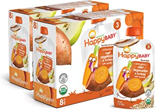 Happy Baby Organics Hearty Meals Stage 3 Baby Food, Root Vegetables & Turkey with Quinoa, 4 Ounce (Pack of 16)