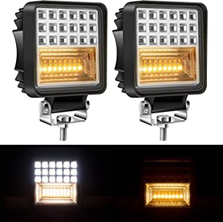 Yorkim Offroad 4x4 Led Fog Lights Amber & White Combo with Flash Strobe, Offroad Led Pod Light Cube, Offroad Led Flood Lights, 4x4 Led Spot Lights For Truck Jeep SUV