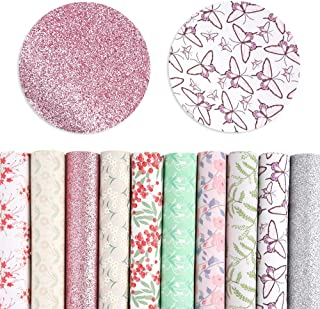 Pllieay 10 Pieces Floral and Animal Printed Faux Leather Sheets Vivid Pearl Light Solid Color for DIY Bows Earrings Making...