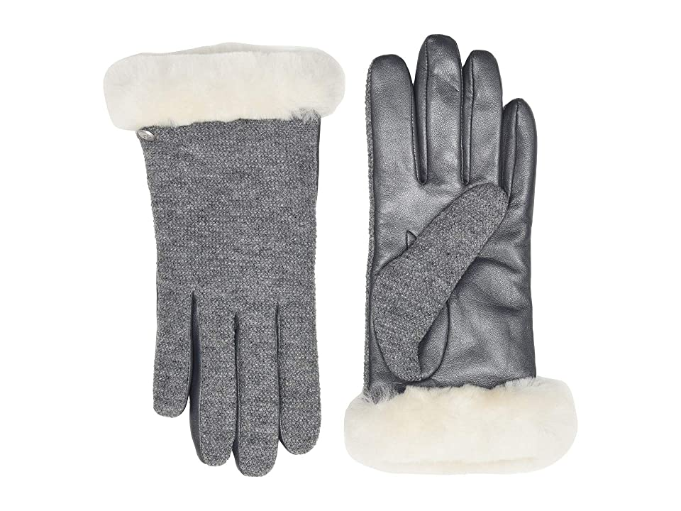 UGG Short Italian Wool Blend Tech Gloves with Long Pile Sheepskin Trim (Light Grey) Extreme Cold Weather Gloves