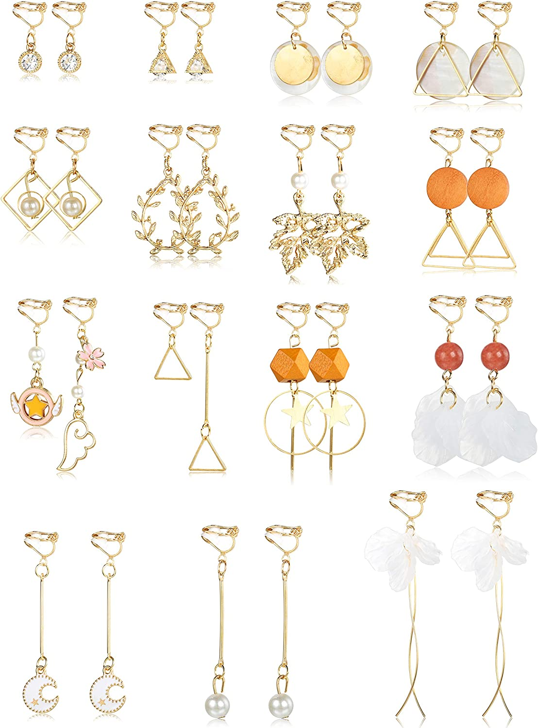 SAILIMUE 15 Pairs Clip on Cash High quality new special price Earrings for Moon Folwer Dangle Women