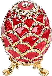 HERCHR Œuf de Fabergé émaillé, Boîte à Bijoux Peinte Œufs de Pâques Boîte à Bijoux Rouge décorative Cadeau Unique Organisa...