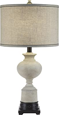Catalina Lighting 20118-001 3-Way White Washed Trophy Table Lamp with a Natural Texture Linen Drum Shade with Cream Silken Liner, Bulb Included
