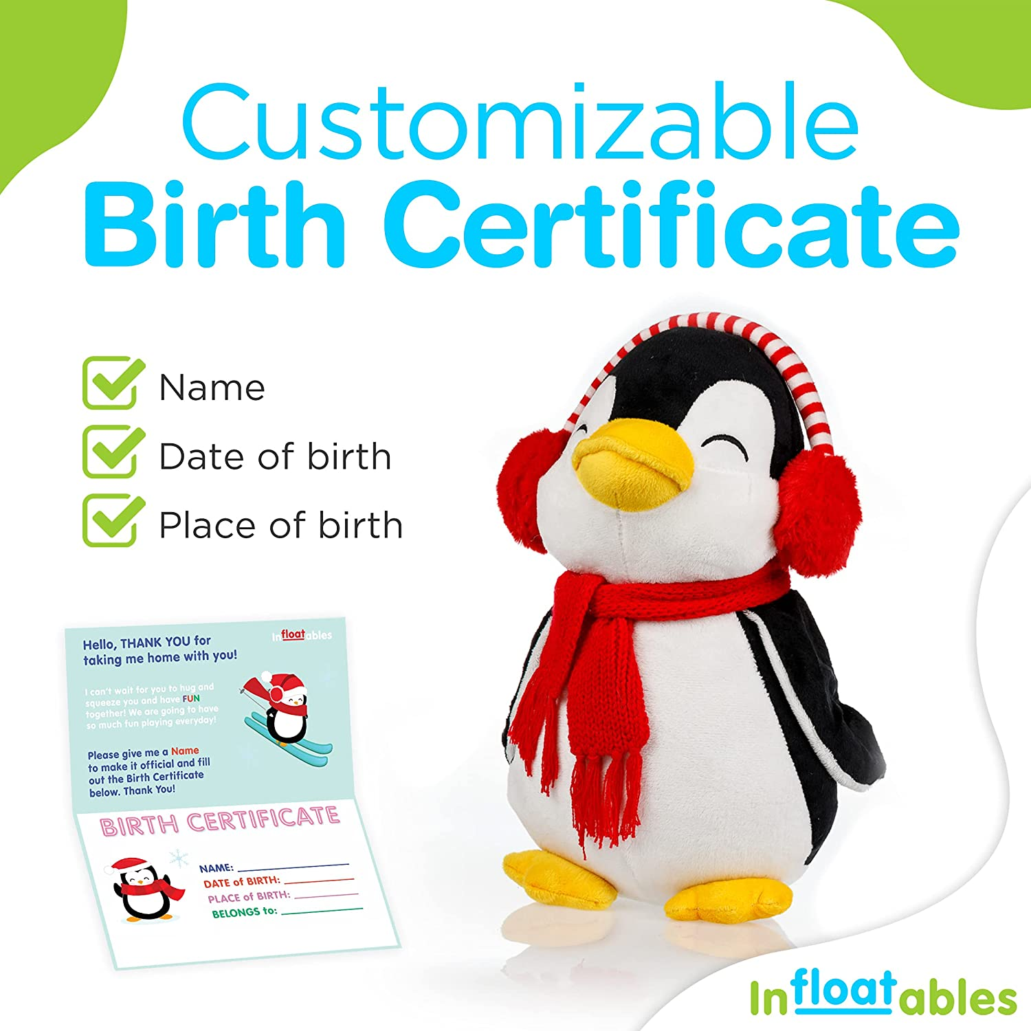 Amazon Com Infloatables Stuffed Penguin 12 Inch Penguin Cute Plush Penguin With Scarf And Knitted Earmuffs Personalize It With Customizable Birth Certificate Stuffed Ocean Animals Kids Birthday Gift Toys Games