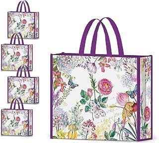 NymphFable 4 Pièces Sac Courses Reutilisable Fleurs Violet Cabas de Courses Lavables Pliable Sac Cabas Eco Grand