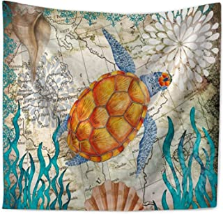 ECONIE Sea Turtle Tapestry Mandala Hanging Tapestries Wall Art Decor Beach Throw Table Runner/Cloth 51