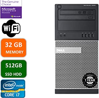 Dell Optiplex 9020 Mini Tower Desktop PC, Intel Core i7-4770-3.4 GHz, 32GB Ram, 512GB SSD WiFi, DVD-RW, Windows 10 Pro (Re... photo