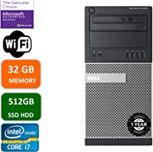 $433 » Dell Optiplex 9020 Mini Tower Desktop PC, Intel Core i7-4770-3.4 GHz, 32GB Ram, 512GB SSD WiFi, DVD-RW, Windows 10 Pro (Renewed)