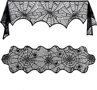 Lulu Home Halloween Decor, Polyester Lace Table Runner and Black Spider Web Mantle - Perfect for Halloween, Dinner Parties...