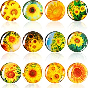 12 Pieces Sunflower Fridge Magnets, Cute Locker Magnets Self Adhesive Magnets for Whiteboard Office Home Kitchen Farmhouse Decor, Metal Surfaces