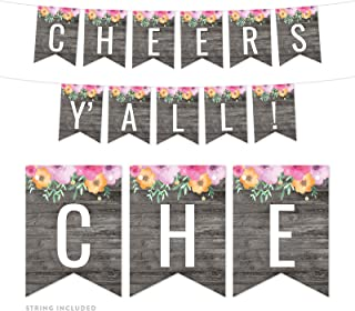 Andaz Press Modern Gray Wood with Flowers Bridal Shower Bachelorette Party Banner Decorations, Cheers Y'All!, Approx 5-Feet, 1-Set, Floral Colored Hanging Pennant Decor