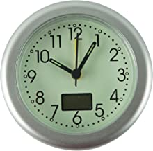 Home-X Glow-in-The-Dark Analog Alarm Clock, Silver Round Battery-Operated Bedside Clock