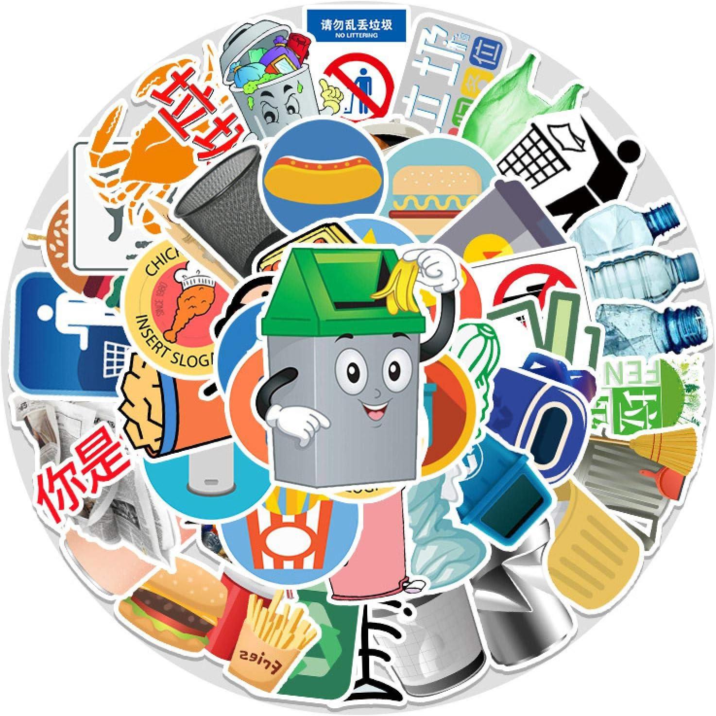 WYZNB Paquete de 54 pegatinas para clasificar basura para ordenador portátil, scooter decoración, graffiti vinilo adhesivo