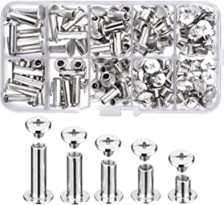 Pangda 80 Set Chicago Binding Screws Assorted Kit 5 Sizes Metal Round Cross Head Stud Screw Posts Nail Rivet Chicago Button for DIY Leather Decoration Bookbinding (5 x 6, 10, 12, 15, 18)