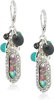 Chaps Women's Silver-Tone Cluster Drop Earrings, Abalone