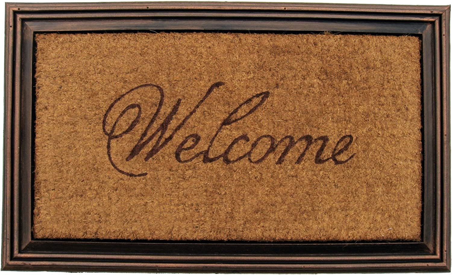 Entryways Rubber and Coir Faux Wood Welcome Mat